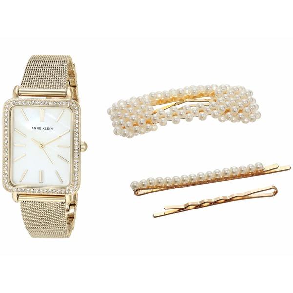 アンクライン レディース 腕時計 アクセサリー Watch and Hair Clip Set Gold-Tone