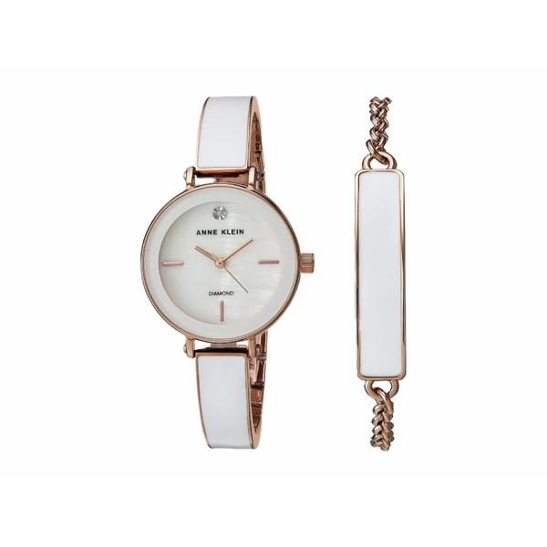 アンクライン レディース 腕時計 アクセサリー Watch and Bracelet Set White/Rose Gold-Tone