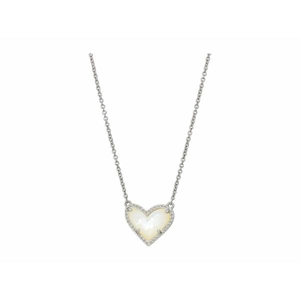 ケンドラスコット レディース ネックレス・チョーカー・ペンダントトップ アクセサリー Ari Heart Short Pendant Necklace Rhodium Ivory Mother-of-Pearl
