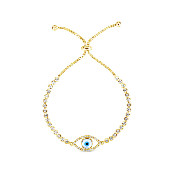 5☆大好評 メーカー在庫限り品 スフラミラノ レディース アクセサリー ブレスレット バングル アンクレット - 全商品無料サイズ交換 Sphera Eye Silver Evil Bracelet Over Gold Tennis Milano