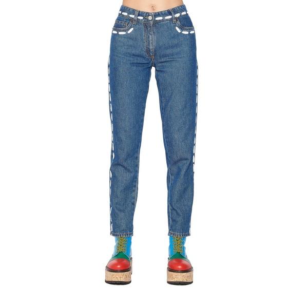 モスキーノ レディース デニムパンツ ボトムス Moschino 'stitching' Jeans Blue
