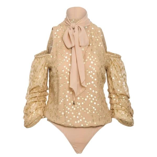 パトリツィア ペペ レディース シャツ トップス Patrizia Pepe Silk Shirt Beigegoldpois