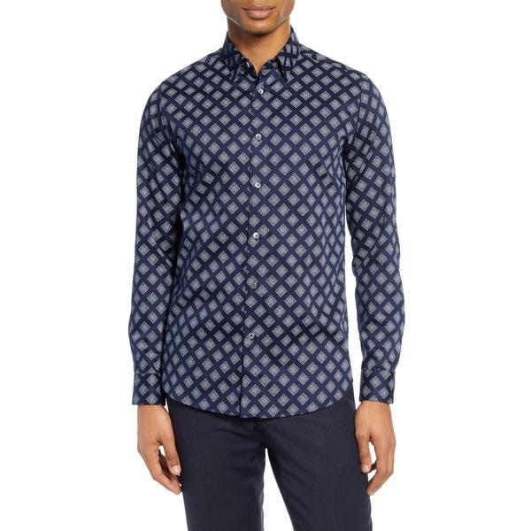 テッドベーカー メンズ シャツ トップス Tillyou Slim Fit Geo Print Button-Up Shirt Navy