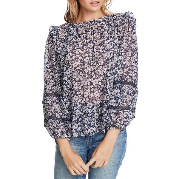 ワンステイト レディース シャツ トップス Wildflower Bouquet Lace Inset Blouse Moonshade Multigf7bvY6y