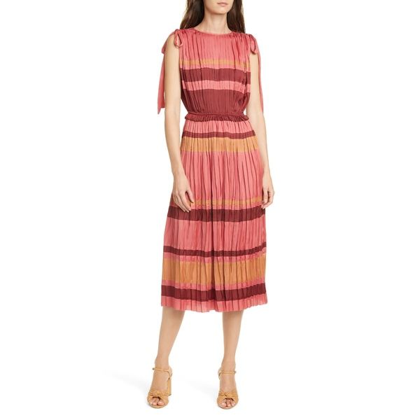 ウラ・ジョンソン レディース ワンピース トップス Alessa Stripe Midi Dress Cerise
