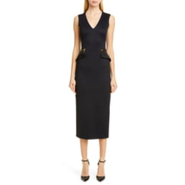 ブランドン・マクスウェル レディース ワンピース トップス Zip Pocket Midi Sheath Dress Black