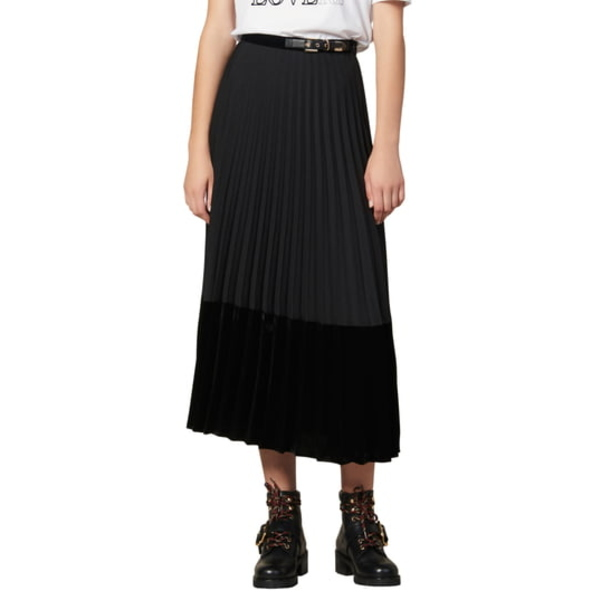 サンドロ レディース スカート ボトムス Velna Velvet Detail Pleated Midi Skirt Black