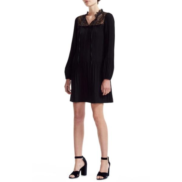 マージュ レディース ワンピース トップス Rockette Pleated Long Sleeve Shift Dress Black