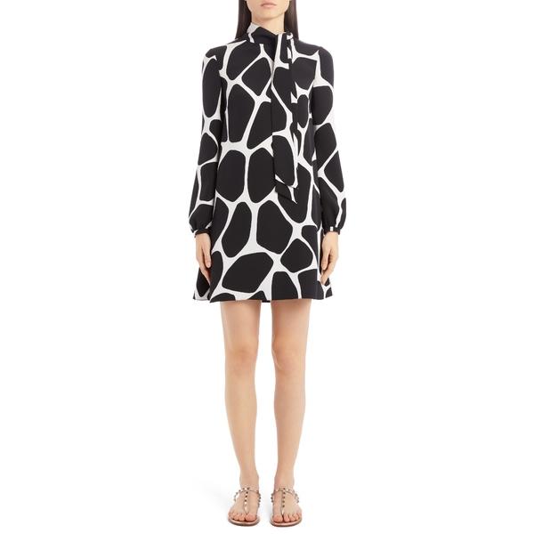 ヴァレンティノ レディース ワンピース トップス Giraffe Print Long Sleeve Silk Minidress Avorio/ Nero