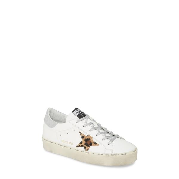 ゴールデングース レディース スニーカー シューズ Hi Star Platform Sneaker White Leather/ Leopard Sole