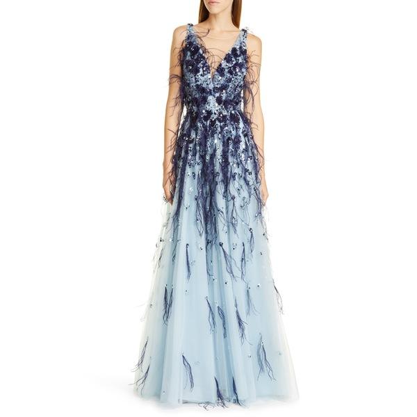 パメラ ローランド レディース ワンピース トップス Flower Sequin & Feather Tulle Ballgown Slate Multi