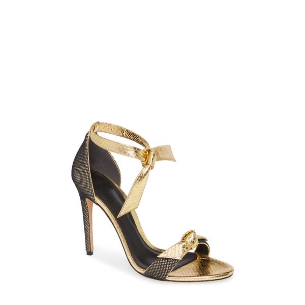 アレクサンドラバードマン レディース サンダル シューズ Clarita Fab Genuine Snakeskin Ankle Tie Sandal Gold