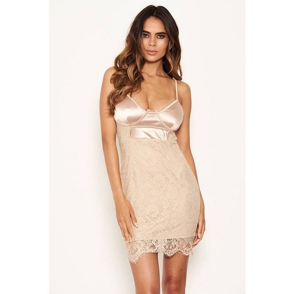 アックスパリ レディース トップス ワンピース 安心の実績 高価 買取 強化中 Beige Bodycon Dress 好評 全商品無料サイズ交換 Lace Women's