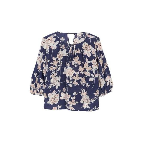 ユミキム レディース シャツ トップス Easy Going Floral Silk Blouse FRENCH ROSE NAVY