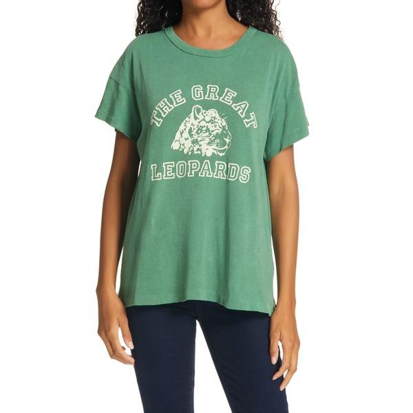 ザ・グレート レディース Tシャツ トップス The Boxy Crew Leopard Graphic Tee Bottle Green