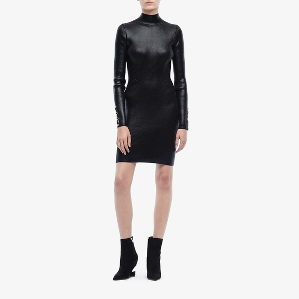 ベルサーチ レディース ワンピース トップス Long Sleeve Turtleneck Mini Dress Black