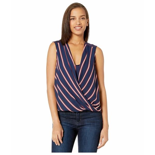 ビーシービージーマックスアズリア レディース シャツ トップス Stripe Drape Front Blouse Pacific Blue/Valet Stripe
