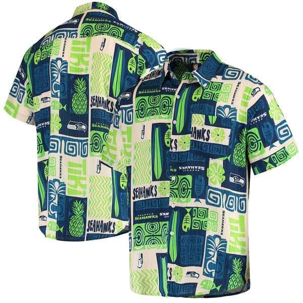 フォコ メンズ シャツ トップス Seattle Seahawks Tiki Floral Woven Button-Up Shirt College Navy/Tan
