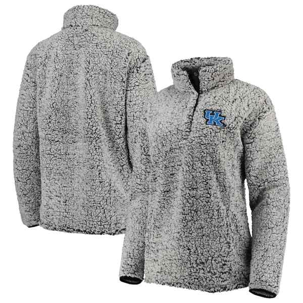 トップ・オブ・ザ・ワールド レディース ジャケット&ブルゾン アウター Kentucky Wildcats Top of the World Women's Coast to Coast Sherpa Quarter-Snap Pullover Jacket Charcoal