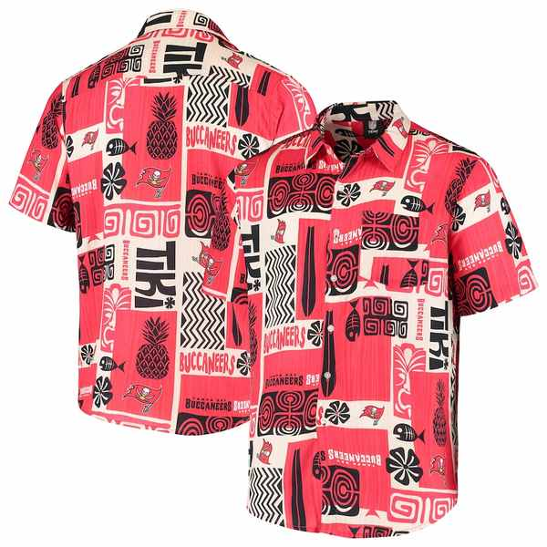 フォコ メンズ シャツ トップス Tampa Bay Buccaneers Tiki Floral Button-Up Woven Shirt Red/Tan