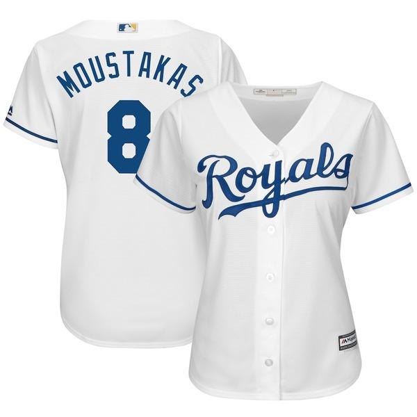 マジェスティック レディース シャツ トップス Mike Moustakas Kansas City Royals Majestic Women's Cool Base Player Jersey White
