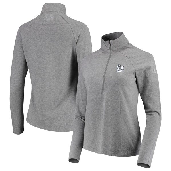 アンダーアーマー レディース ジャケット&ブルゾン アウター St. Louis Cardinals Under Armour Women's Passion Performance Tri-Blend Raglan Half-Zip Pullover Jacket Heathered Gray