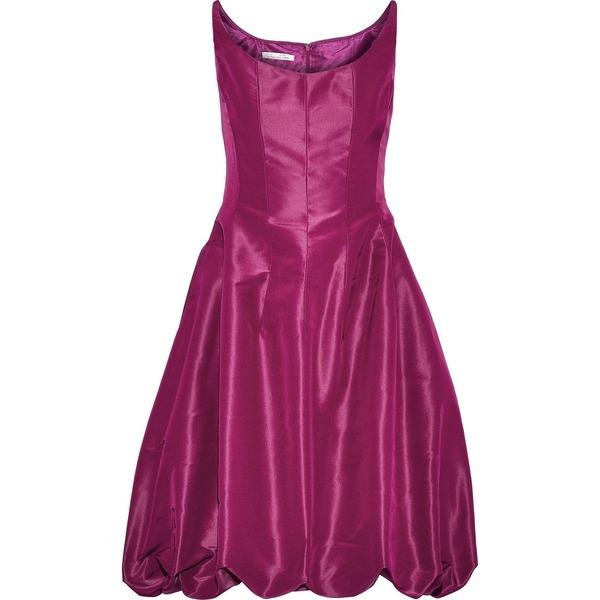 オスカー デ ラ レンタ レディース ワンピース トップス Gathered silk-taffeta mini dress Magenta