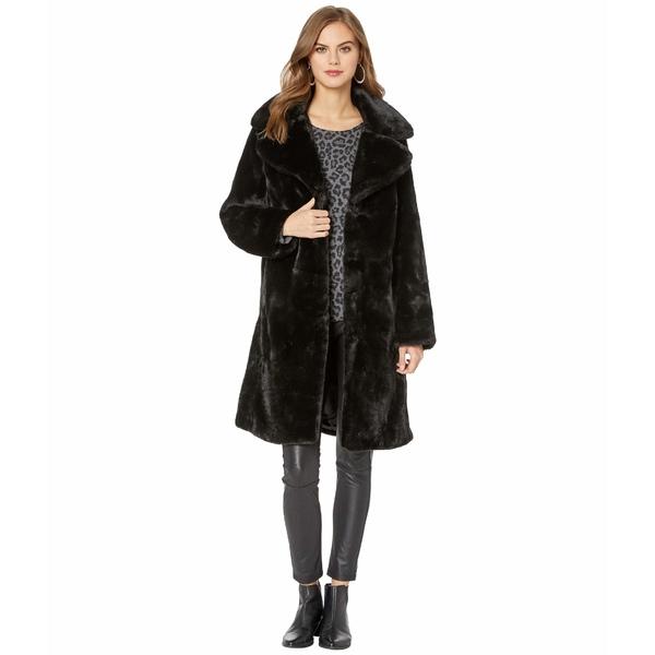 アベックレフィレ レディース コート アウター Faux Fur Knee-Length Coat Black