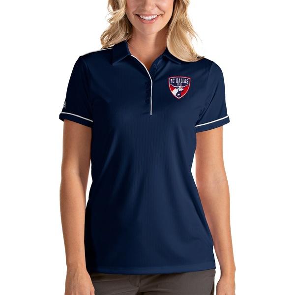 アンティグア レディース ポロシャツ トップス FC Dallas Antigua Women's Salute Polo Navy/White