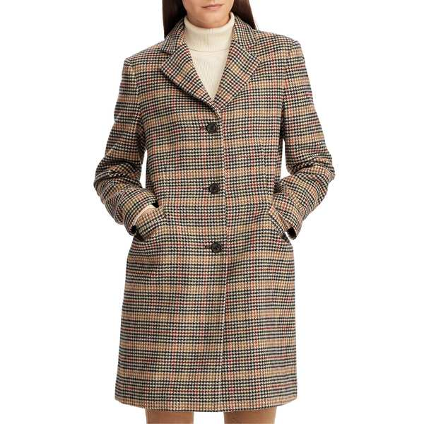 ラルフローレン レディース コート アウター Lauren Ralph Lauren Wool Blend Reefer Coat Sienna Plaid