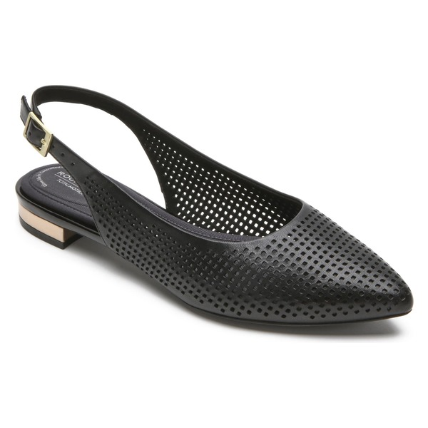 ロックポート レディース サンダル シューズ Rockport Adelyn Perforated Slingback Flat (Women) Black Leather