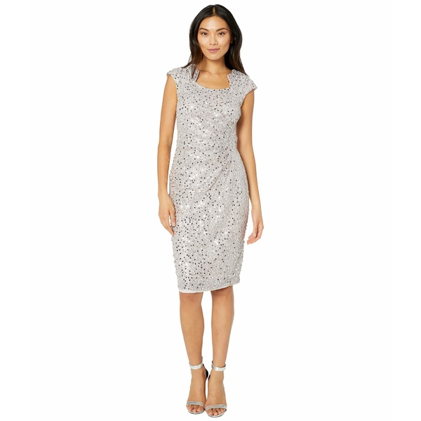 タハリ レディース ワンピース トップス Cap Sleeve Sequin Stretch Lace Side Draped Dress Silver Mist