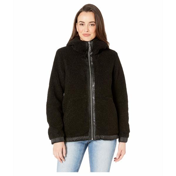 ヴィンスカムート レディース コート アウター Hooded Faux Shearling Jacket R8971 Black