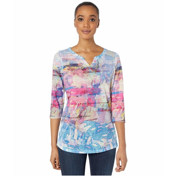 FDJフレンチドレッシングジーンズ レディース シャツ トップス Printed Smooth Jersey Kaleidoscope Printed Notched Crew Top Multi