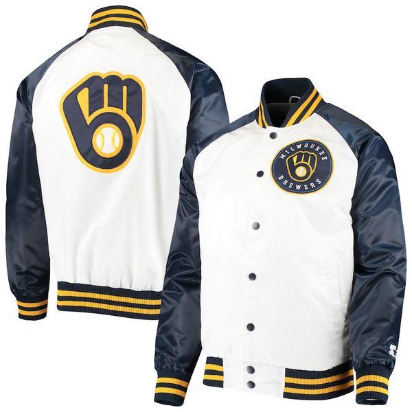 スターター メンズ ジャケット&ブルゾン アウター Milwaukee Brewers Starter Clean-Up Hitter Full-Snap Jacket White/Navy