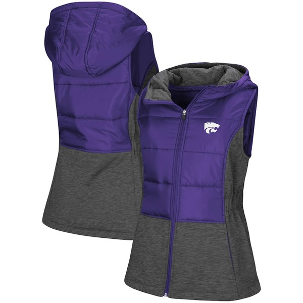 コロシアム レディース ジャケット&ブルゾン アウター Kansas State Wildcats Colosseum Women's Ray Quilted Full Zip Vest Purple
