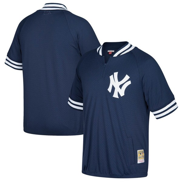 ミッチェル&ネス メンズ シャツ トップス New York Yankees Mitchell & Ness Cooperstown Collection Mesh Batting Practice Quarter-Zip Jersey Navy