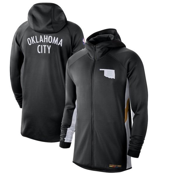 ナイキ メンズ ジャケット&ブルゾン アウター Oklahoma City Thunder Nike 2019/20 Earned Edition Showtime Full-Zip Performance Hoodie Black/White