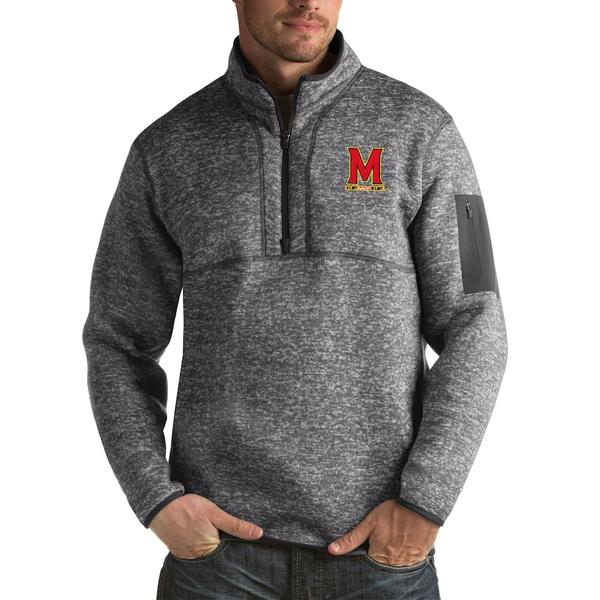 アンティグア メンズ ジャケット&ブルゾン アウター Maryland Terrapins Antigua Fortune Big & Tall Quarter-Zip Pullover Jacket Charcoal