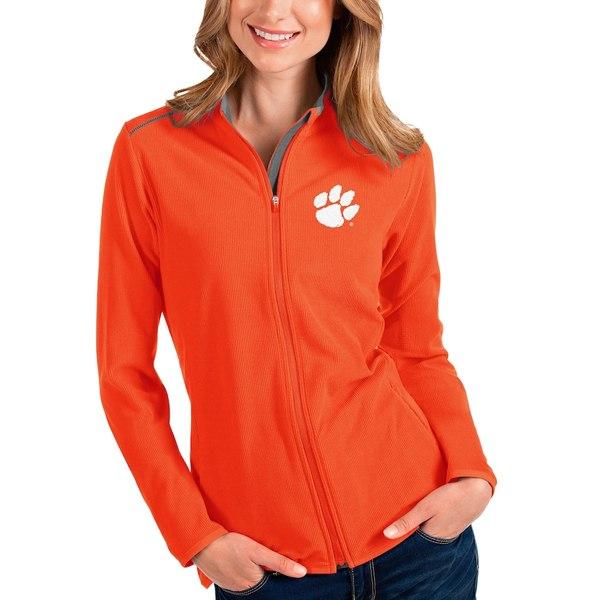 アンティグア レディース ジャケット&ブルゾン アウター Clemson Tigers Antigua Women's Glacier Full-Zip Jacket Orange/Gray