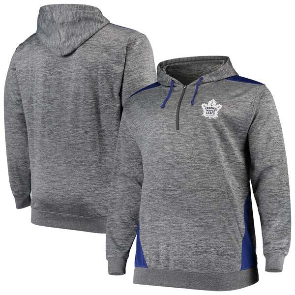 マジェスティック メンズ ジャケット&ブルゾン アウター Toronto Maple Leafs Majestic Big & Tall Quarter-Zip Pullover Hoodie Jacket Heathered Charcoal/Blue