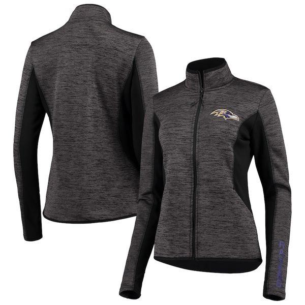 カールバンクス レディース ジャケット&ブルゾン アウター Baltimore Ravens G-III 4Her by Carl Banks Women's Defense Space Dye Full-Zip Jacket Black