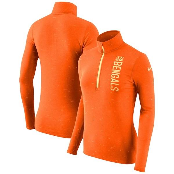 ナイキ レディース ジャケット&ブルゾン アウター Cincinnati Bengals Nike Women's Element Half-Zip Wordmark Performance Jacket Heathered Orange