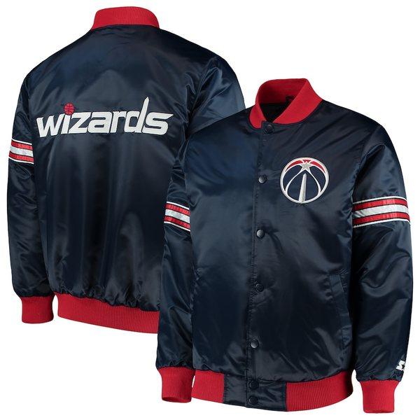 スターター メンズ ジャケット&ブルゾン アウター Washington Wizards Starter The Draft Pick Varsity Satin Full-Snap Jacket Navy