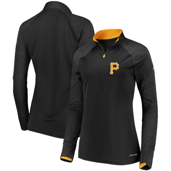 マジェスティック レディース ジャケット&ブルゾン アウター Pittsburgh Pirates Majestic Women's Extremely Clear Cool Base Raglan 1/2-Zip Jacket Black