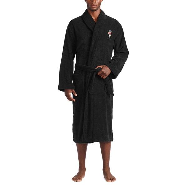 ラルフローレン メンズ アンダーウェア ナイトウェア 日本産 Polo SEAL限定商品 Black Riding Bear 全商品無料サイズ交換 with Terry Embroidery Robe