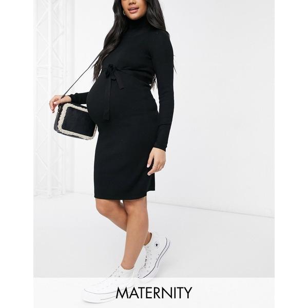 ママライシアス 4年保証 レディース トップス ワンピース Black 全商品無料サイズ交換 Mamalicious Maternity in roll neck knitted mini black with dress 爆買い新作