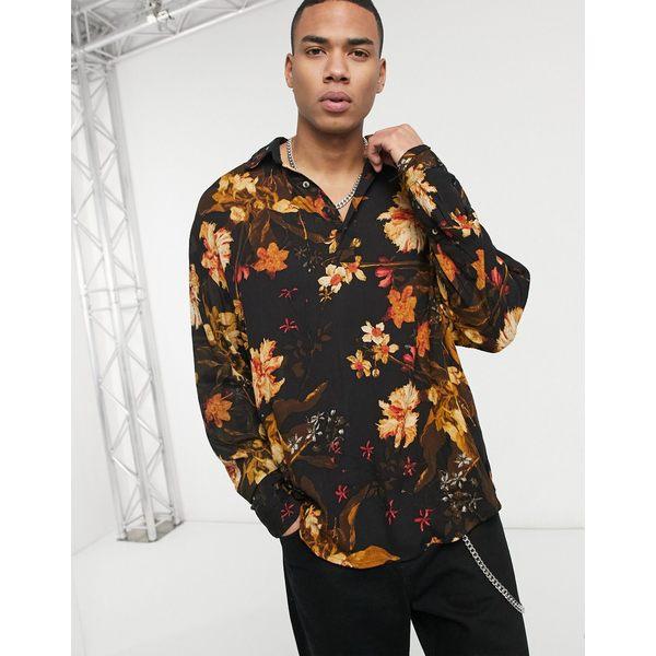 エイソス メンズ シャツ トップス ASOS DESIGN black floral pullover shirt in crinkle fabric Black