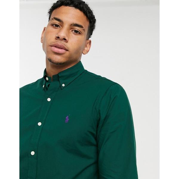 5%OFF ラルフローレン メンズ トップス セール 登場から人気沸騰 シャツ Green 全商品無料サイズ交換 Polo Ralph Lauren player logo slim green poplin fit shirt dark in buttondown