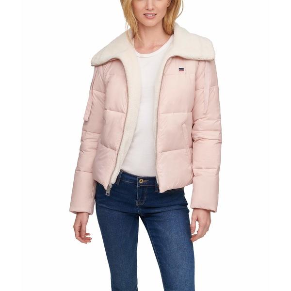 リーバイス レディース アウター コート Baby Pink 全商品無料サイズ交換 Quilted Collar Sherpa 授与 Jacket Puffer 40%OFFの激安セール Laydown Lined w